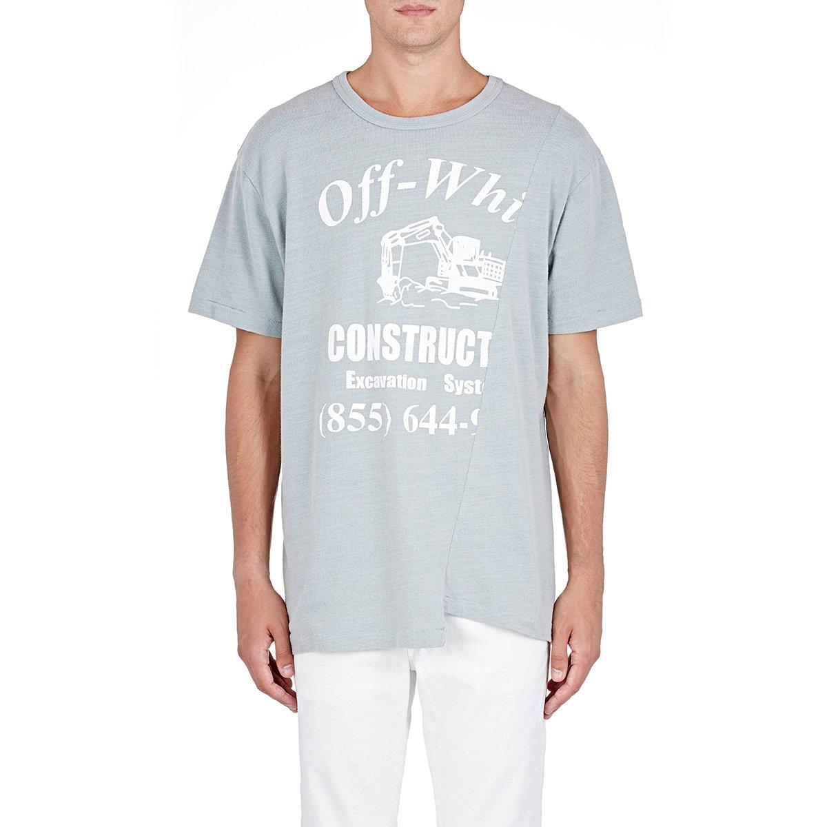 Lyst - Off-White c o Virgil Abloh Men s Construction T-shirt in Blue ... 00df4f82e826