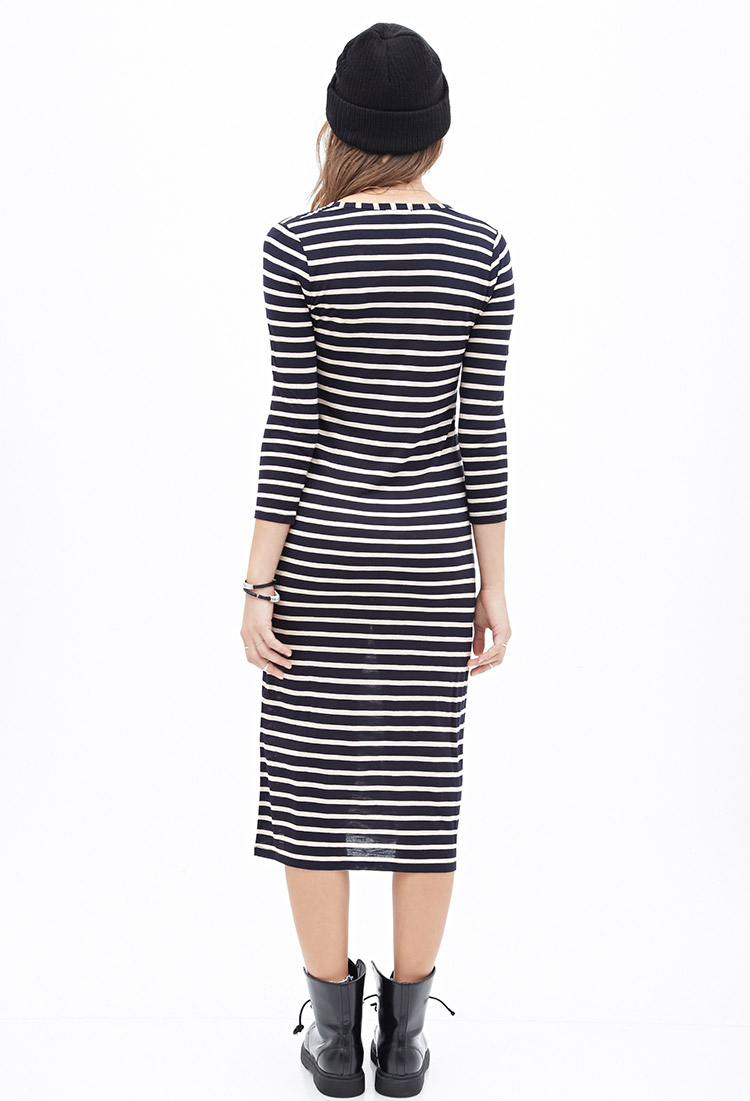 Forever 21 Striped Maxi Cardigan in Blue | Lyst
