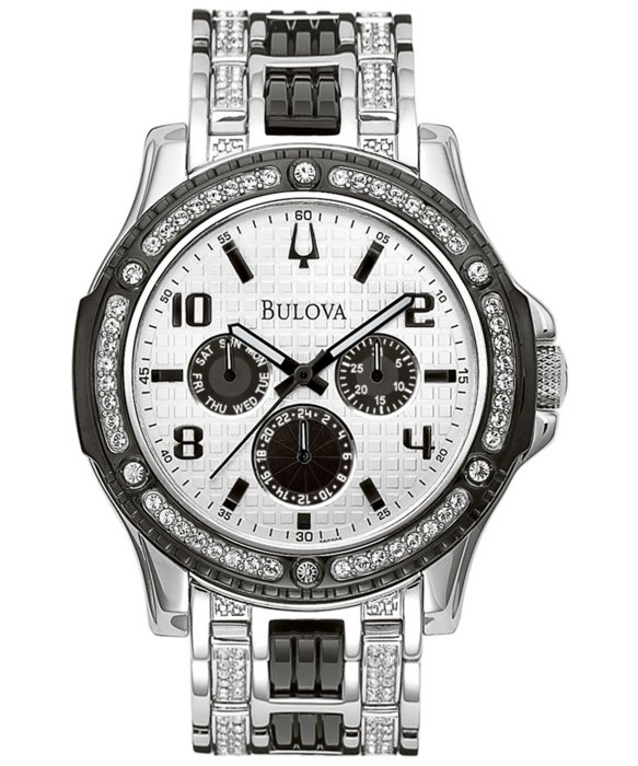 bulova mens two tone swarovski crystal bul98c005 watch in metallic gallery