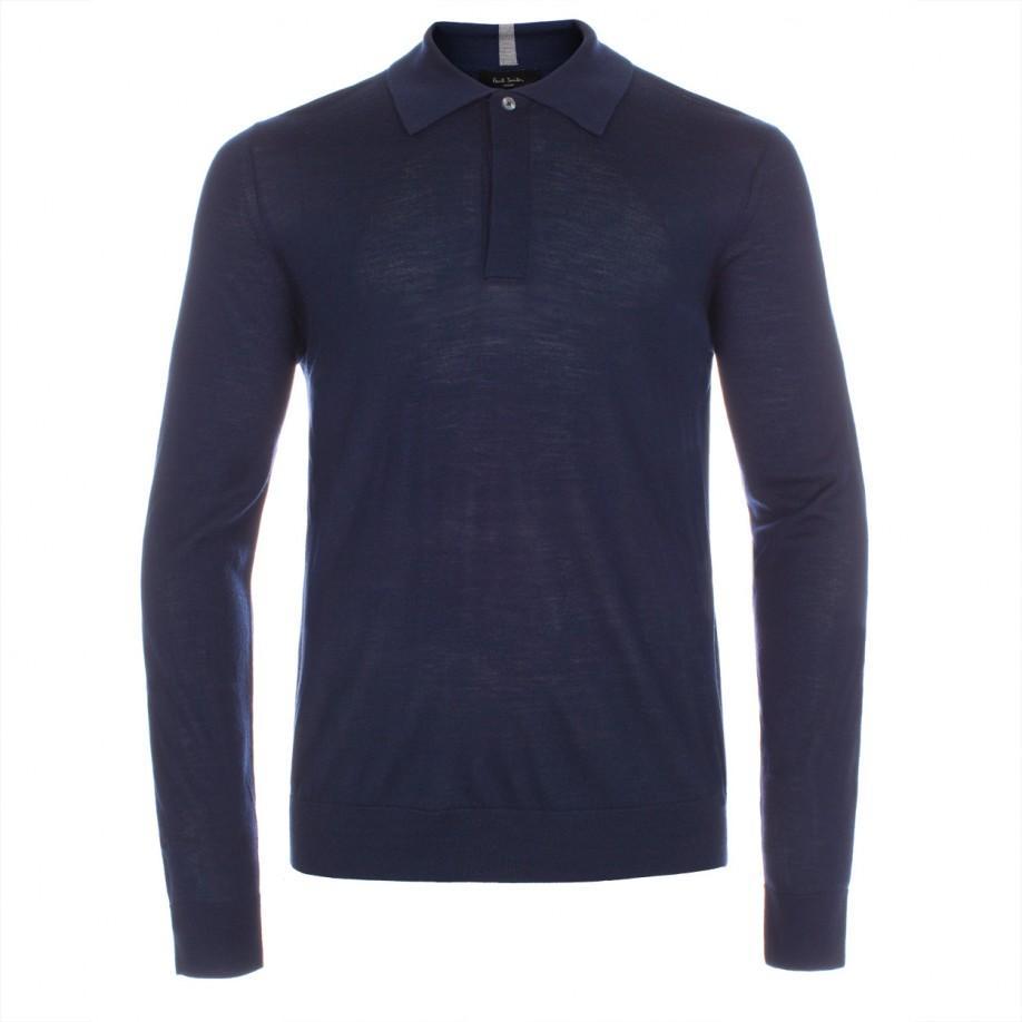 ca5aeb598 Paul Smith Men's Navy Merino Wool Long-sleeve Polo Shirt in Black ...