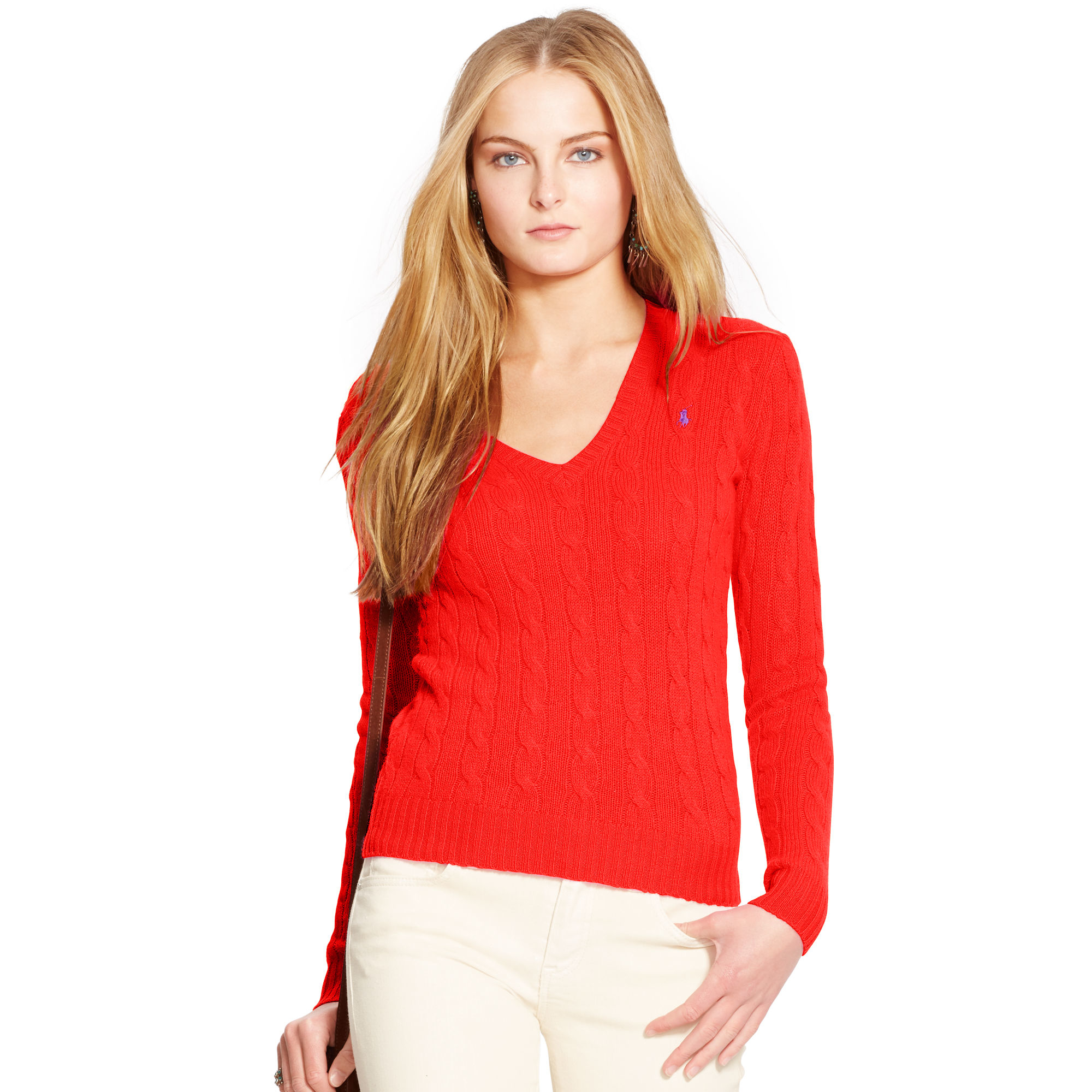 Polo ralph lauren Wool-blend V-neck Sweater in Red | Lyst