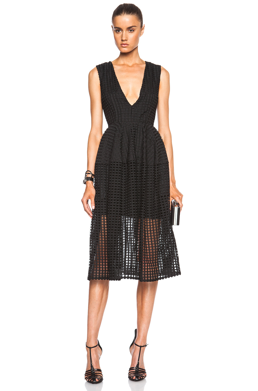 Nicholas Grid Lace Deep V Ball Dress In Black Lyst