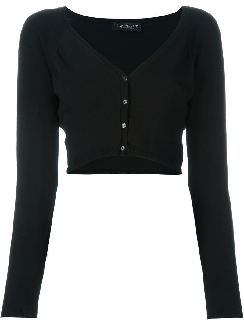 Twin set Cropped Cardigan in Black | Lyst