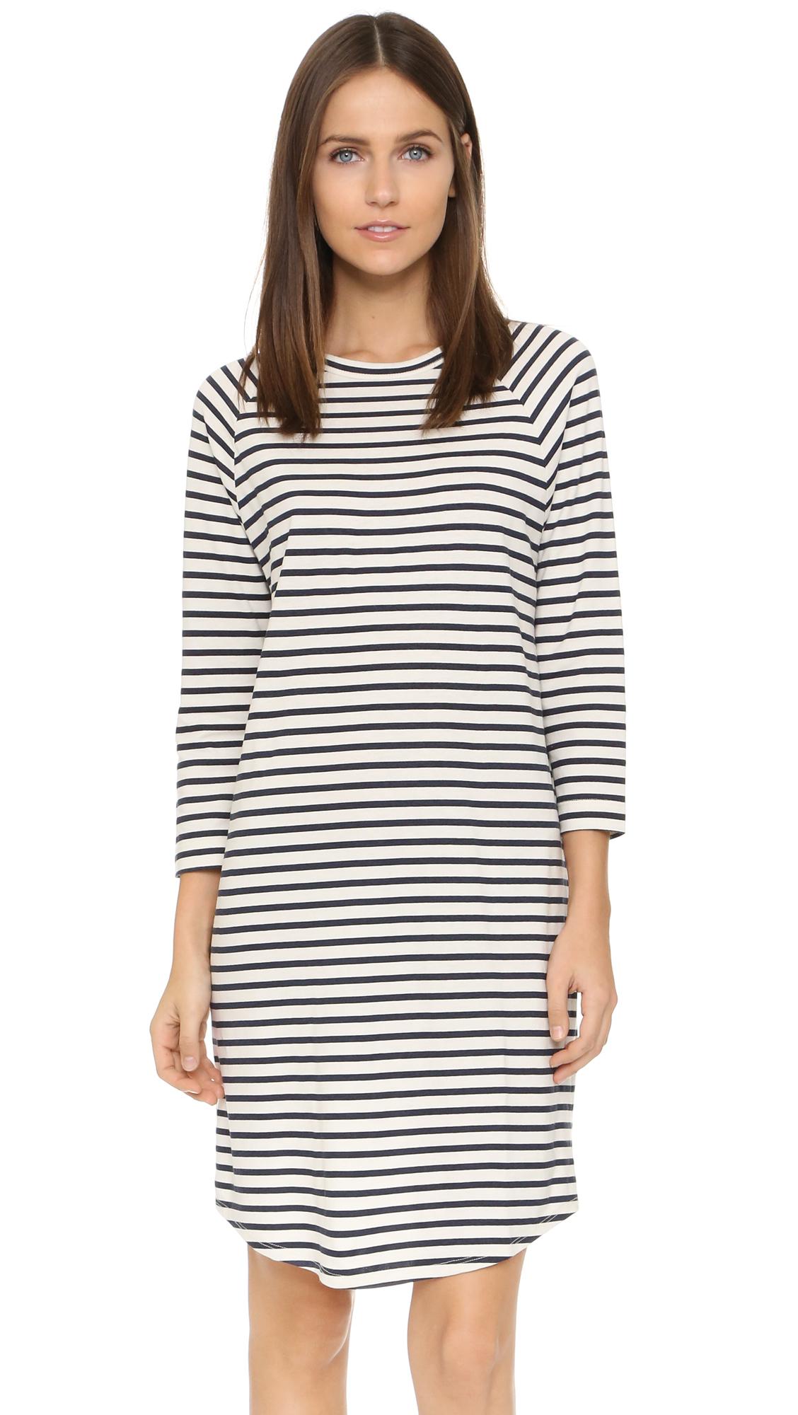 4586fb5db8b4 Lyst - 6397 Stripe Long Sleeve Dress in Blue
