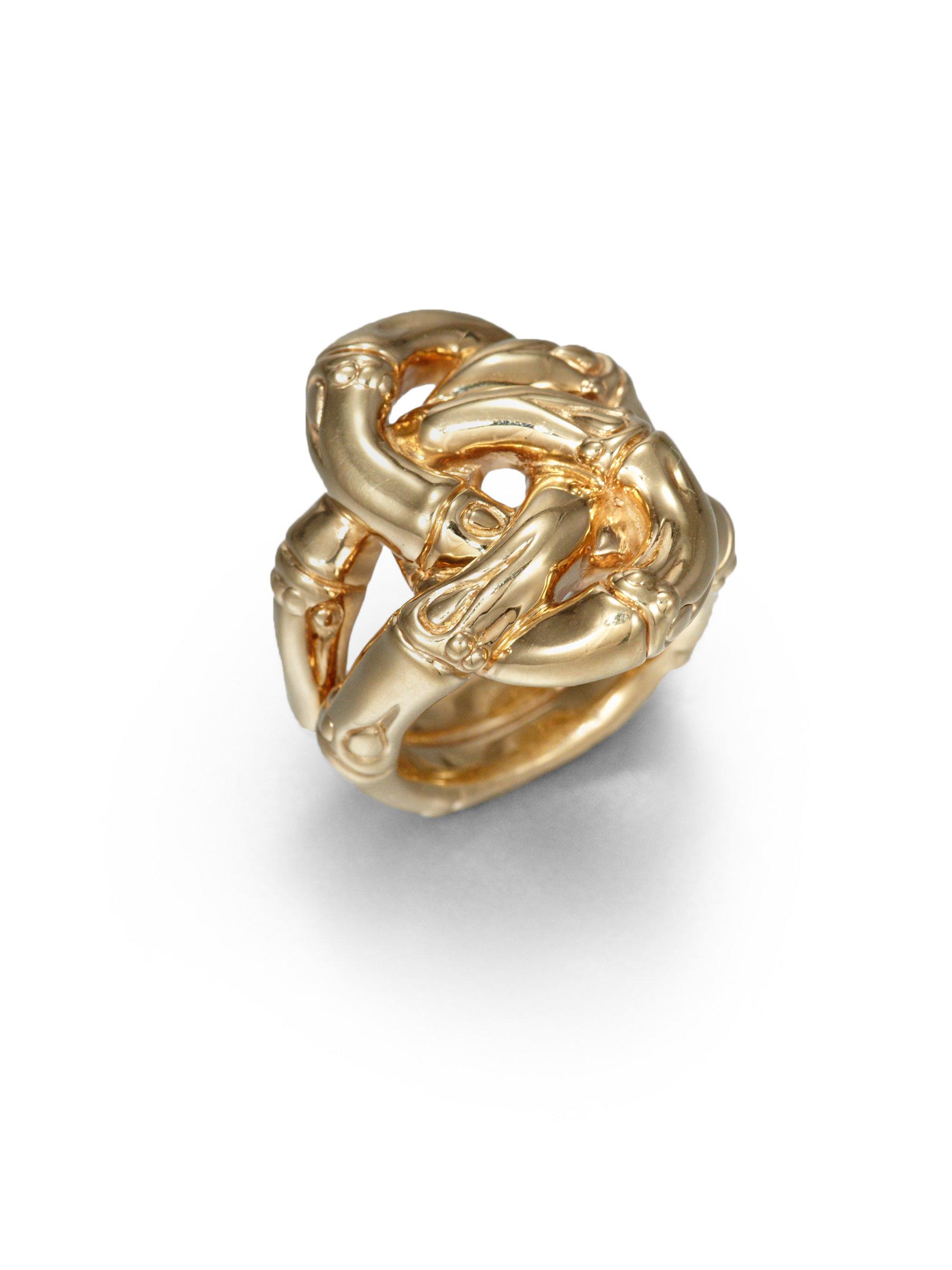 John Hardy Bamboo 18k Yellow Gold Knot Ring In Metallic Lyst