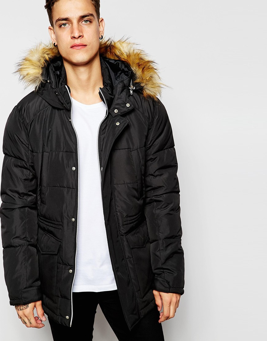 Asos Quilted Fishtail Parka With Faux Fur Hood In Black in Black ...