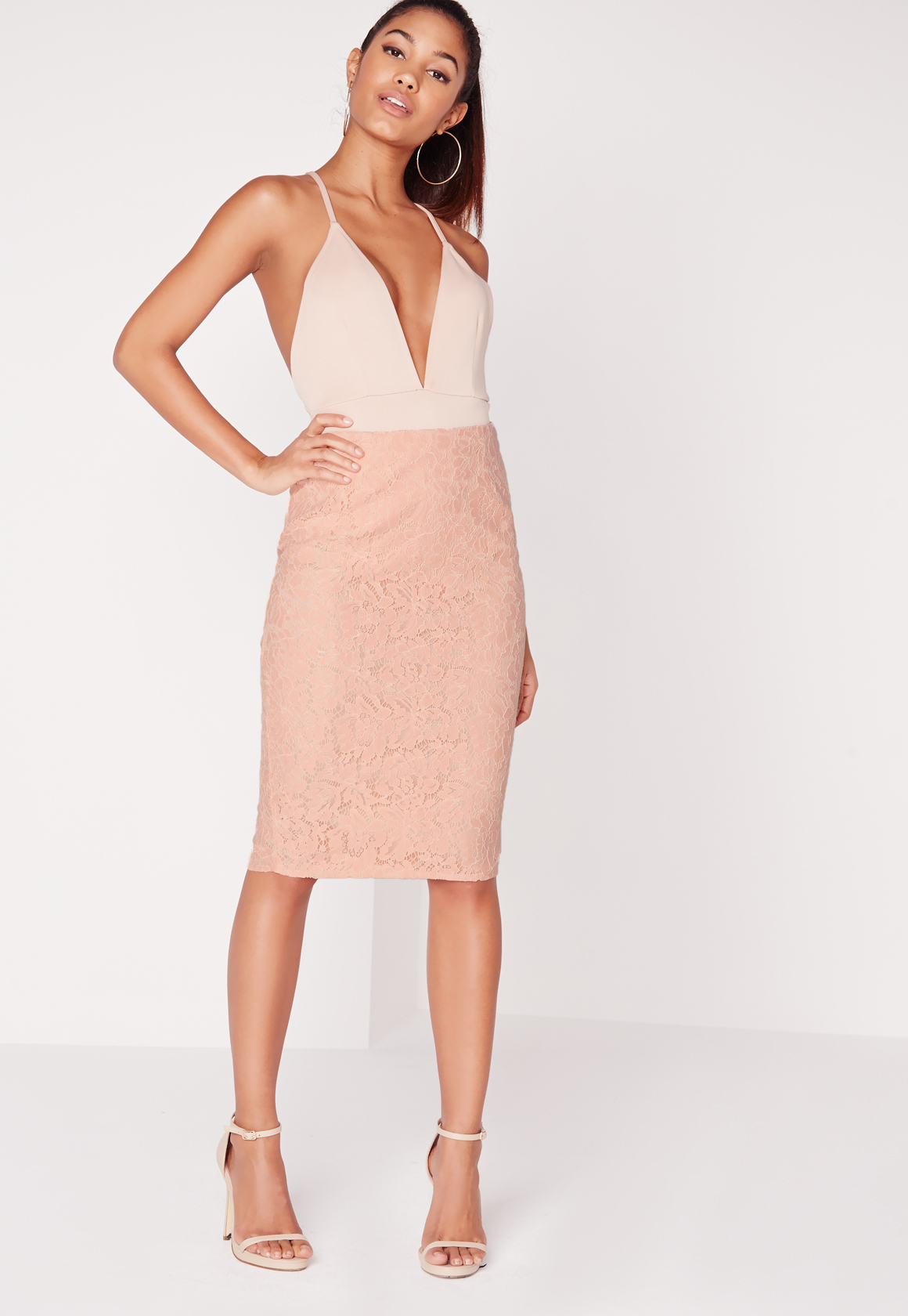 Missguided Split Back Lace Midi Skirt Blush in Pink | Lyst
