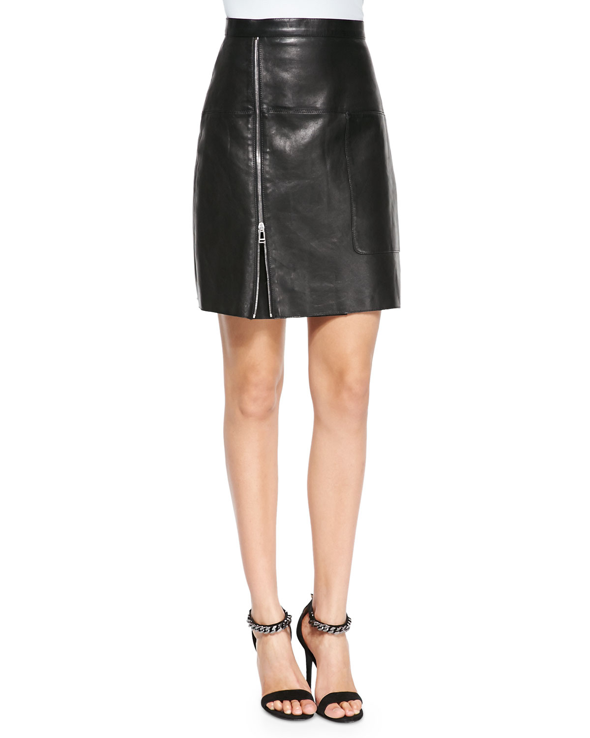 belstaff side zip leather skirt in black lyst