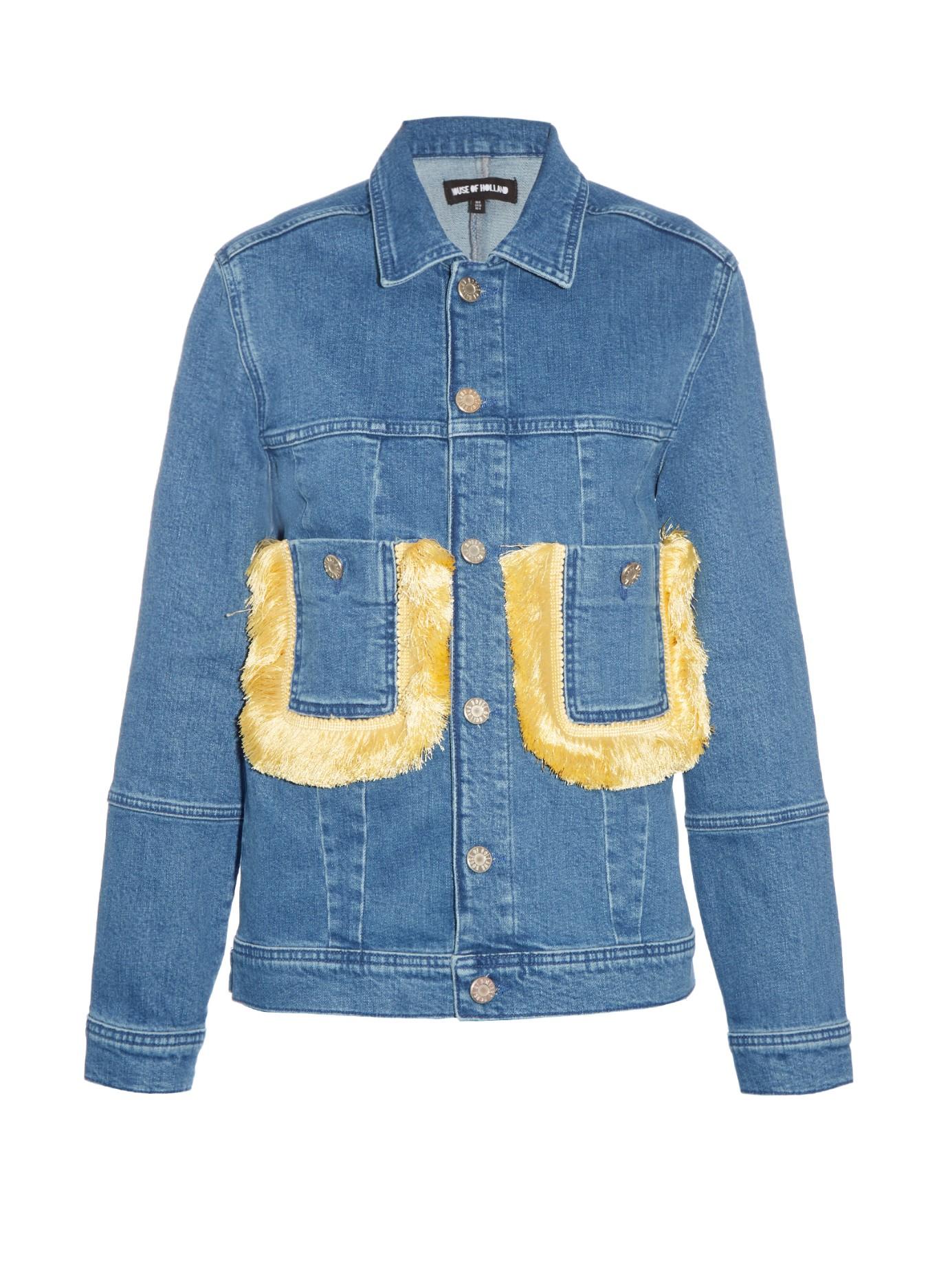 House Of Holland Fringed Embellished Denim Jacket In Blue Lyst