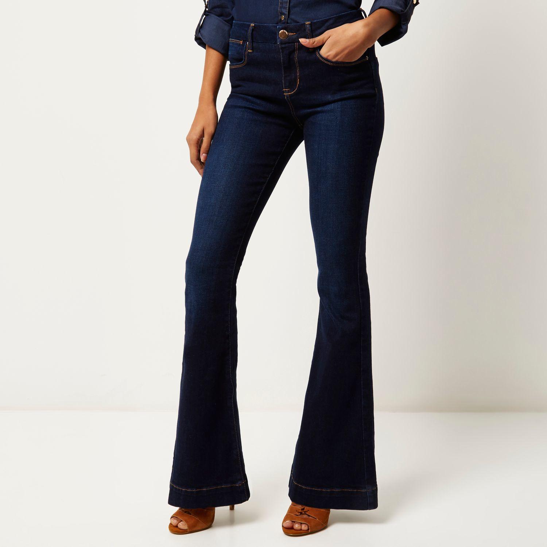 Womens Petite Black cropped flared jeans River Island 1ZNYUgm
