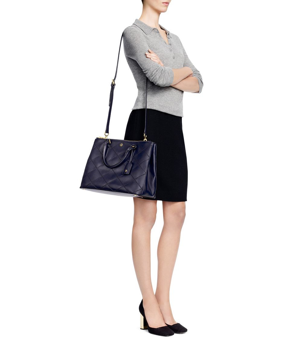 ccf5183d01 Tory Burch Robinson Stitched Double-Zip Tote in Blue - Lyst