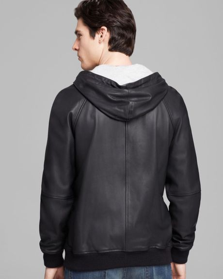 Marc By Marc Jacobs Leather Zip Hoodie Jacket In Black For