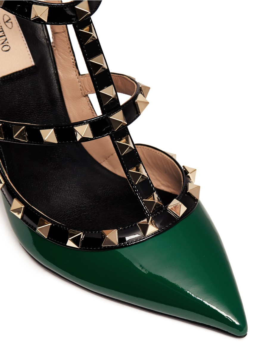 Lyst Valentino Rockstud Caged Patent Leather Pumps In