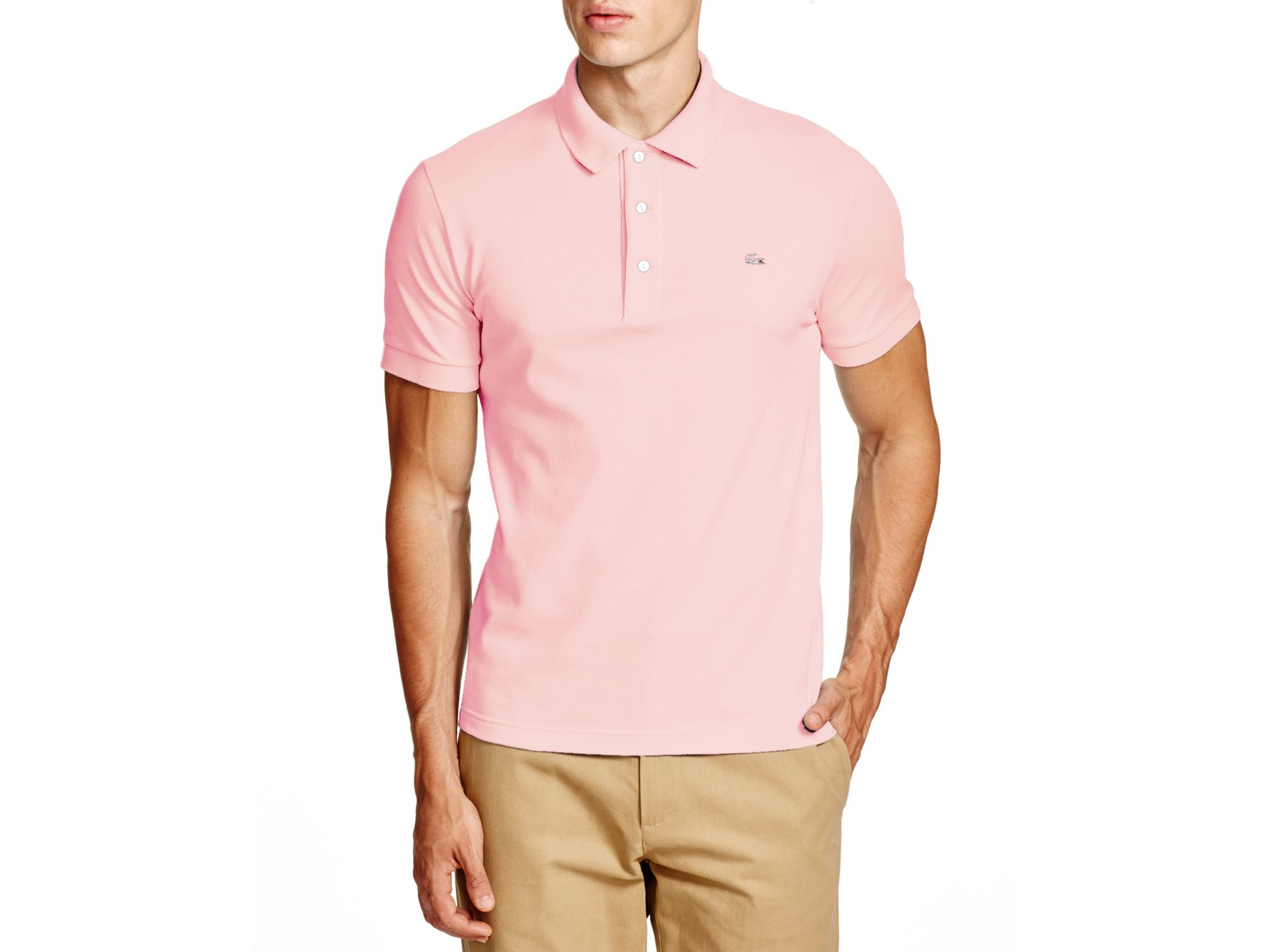 59cc36ec1 Lyst - Lacoste Stretch Slim Fit Polo in Pink for Men