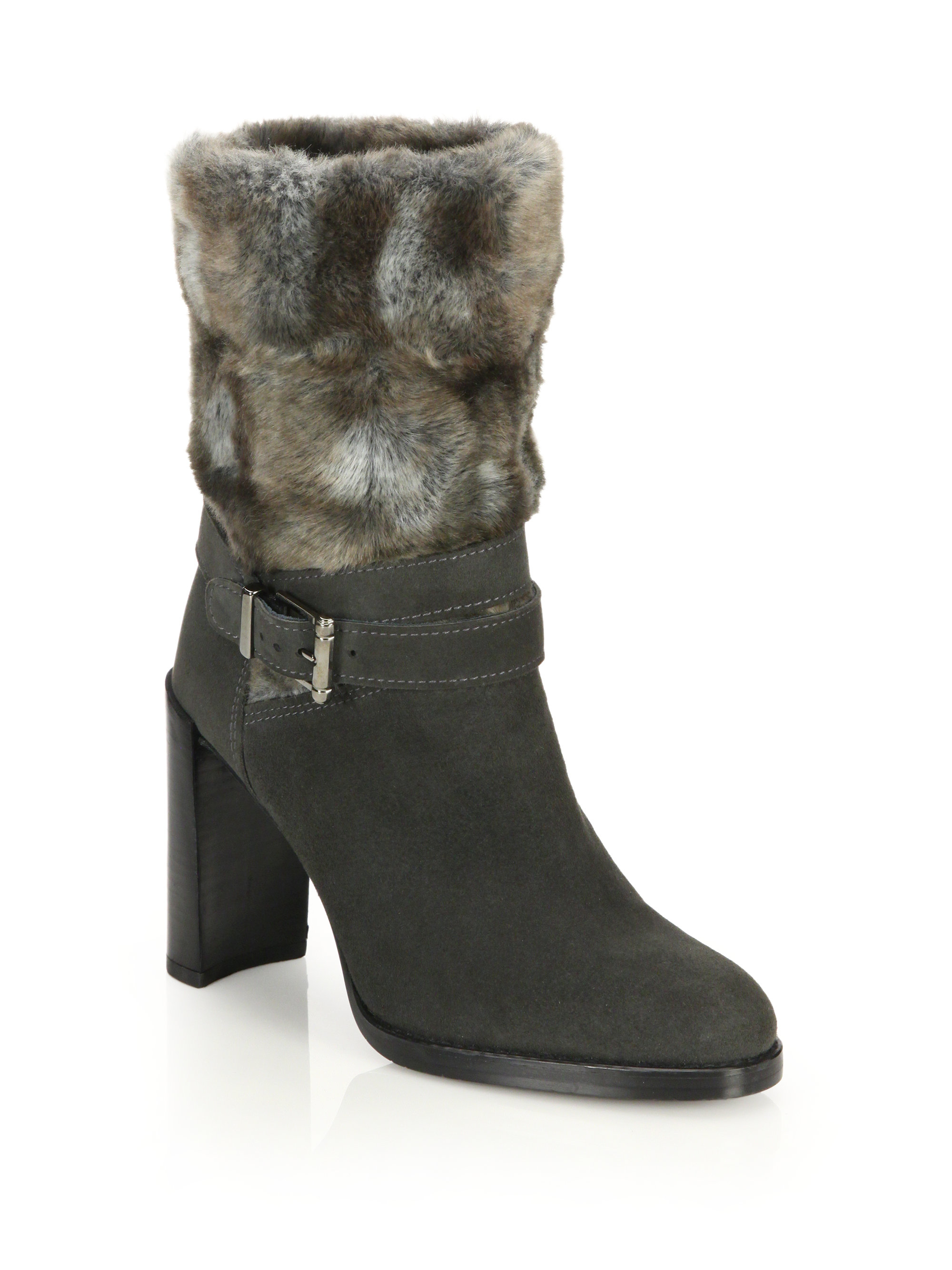 stuart weitzman furstup suede faux fur boots in green lyst