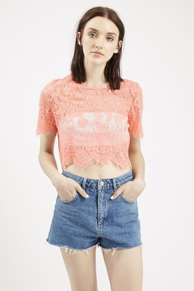 15c5a99ece2 Topshop Sheer Lace Crop Top By Glamorous in Pink - Lyst