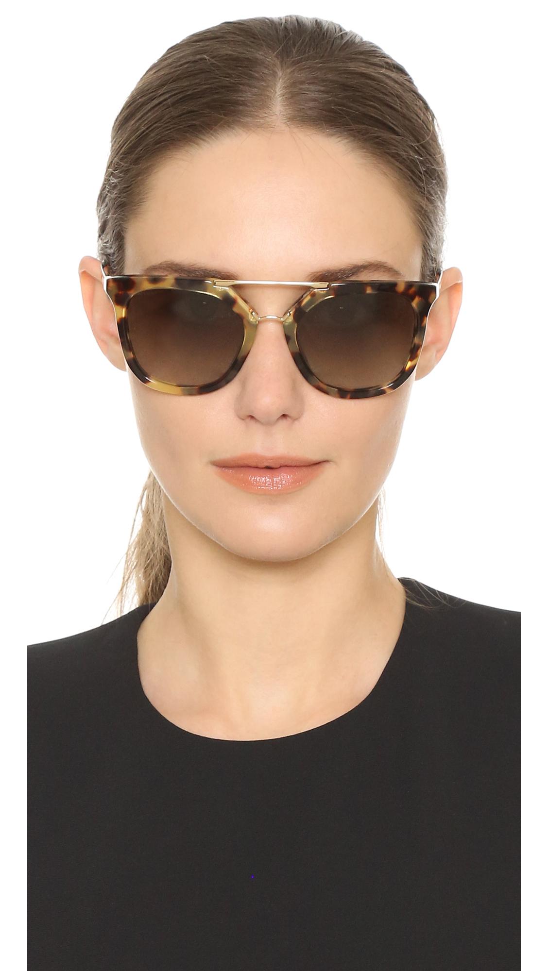 98644dffecc3 Prada Thick Frame Aviator Sunglasses in Green - Lyst