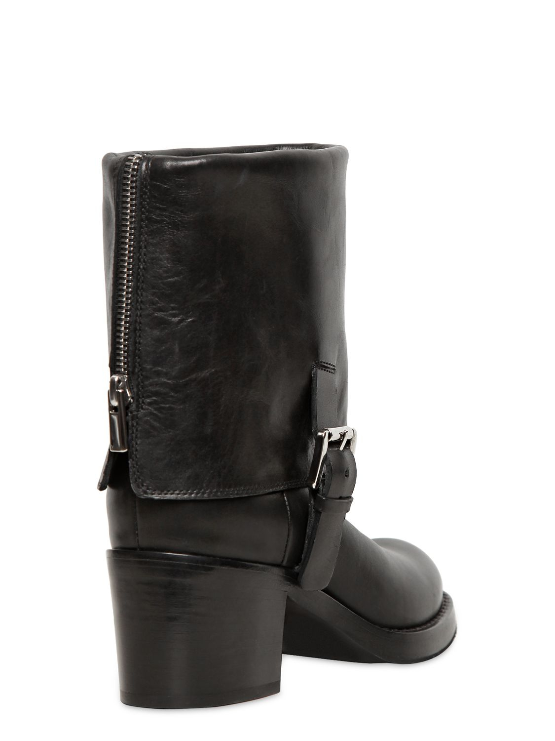 Costume national 85mm Calfskin Fold Over Ankle Boots in Black | Lyst