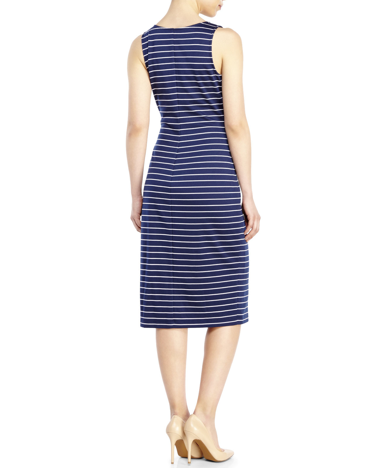 Marc new york navy stripe midi dress in blue lyst for New york and company dress shirts