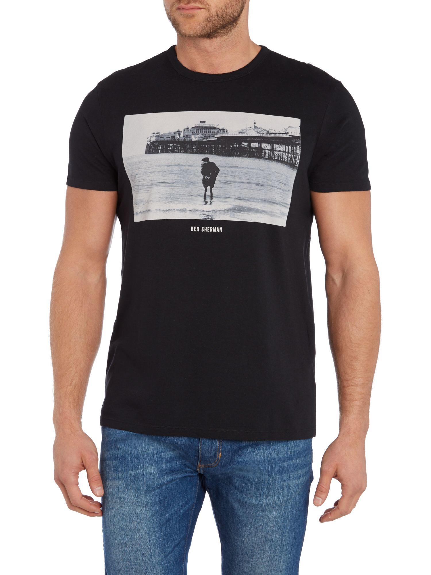 Ben sherman tony ray jones brighton t shirt in black for for Brighton t shirt printing