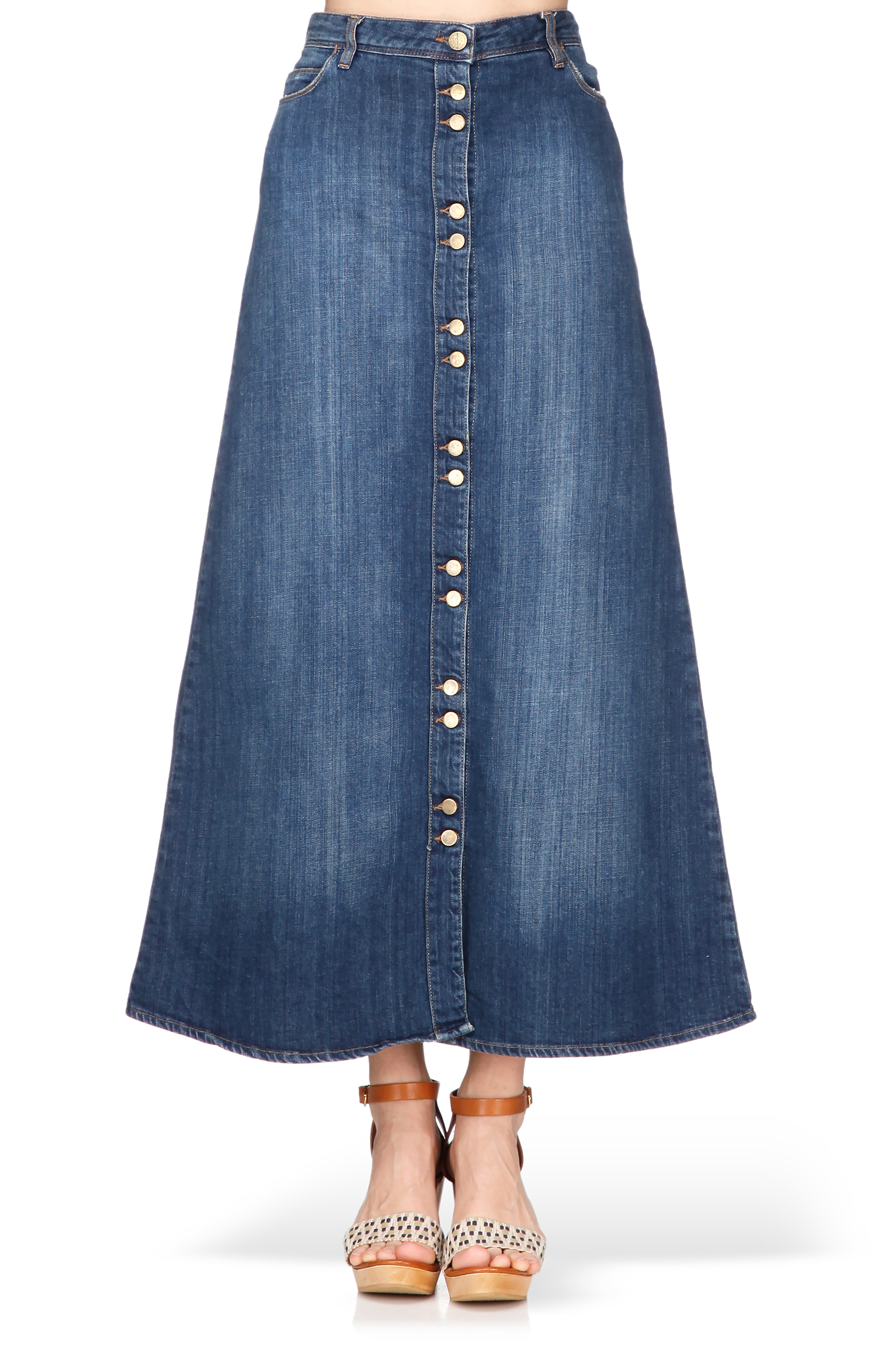 acquaverde midi skirt maxi skirt in blue lyst