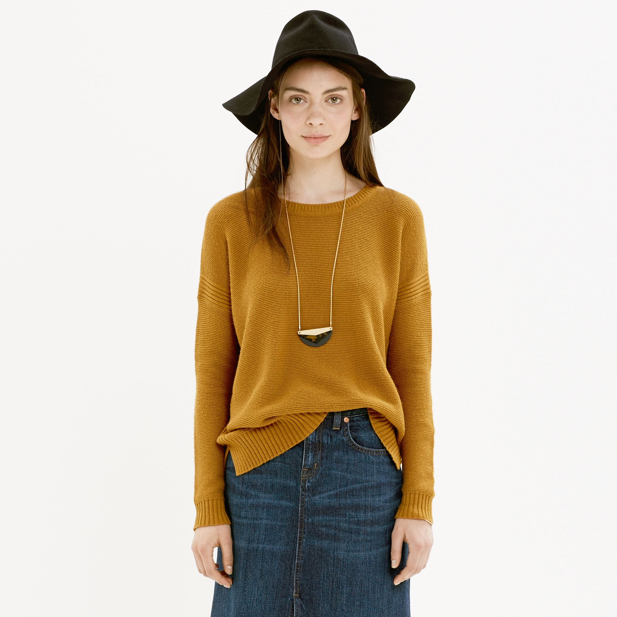 Madewell Texturework Sweater in Brown | Lyst