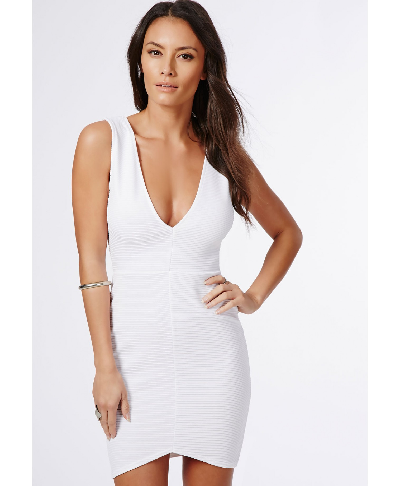 be50b9a370 Lyst - Missguided Penny Ribbed Plunge Bodycon Dress White in White