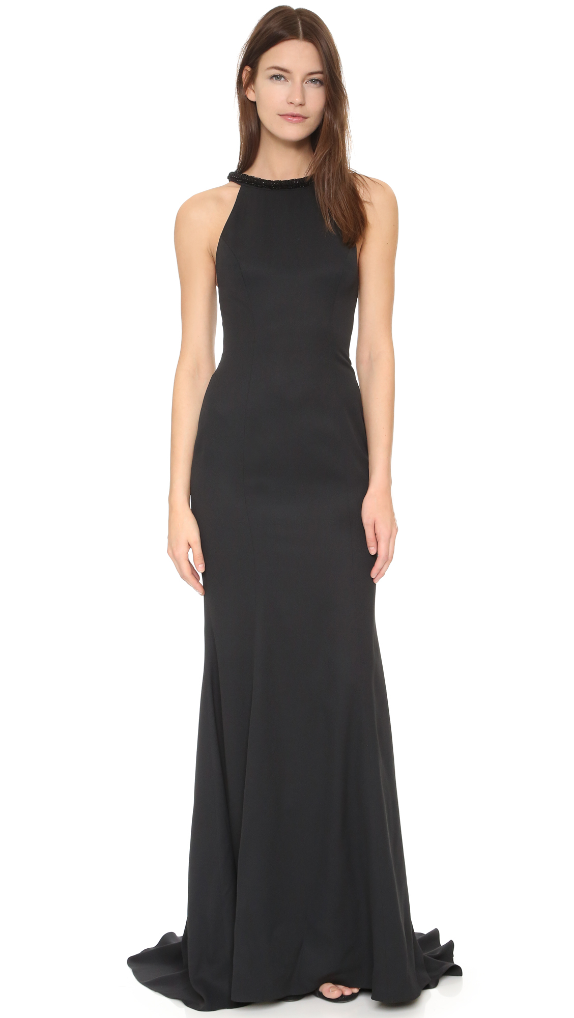 Monique Lhuillier Black Gown_Black Dresses_dressesss