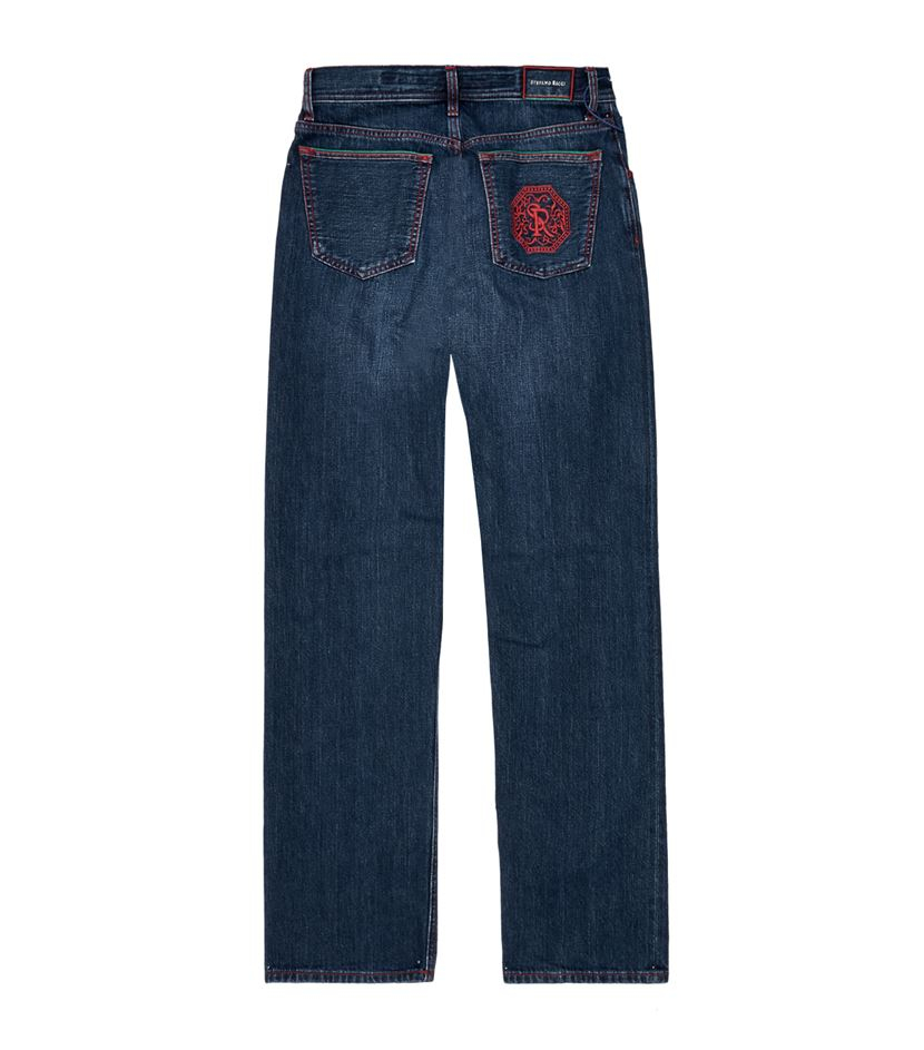 Stefano ricci logo embroidered jeans in blue for men lyst