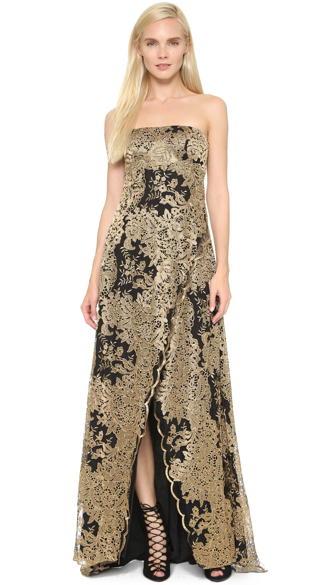 Lyst - Notte By Marchesa Strapless Gown - Black/gold in Black