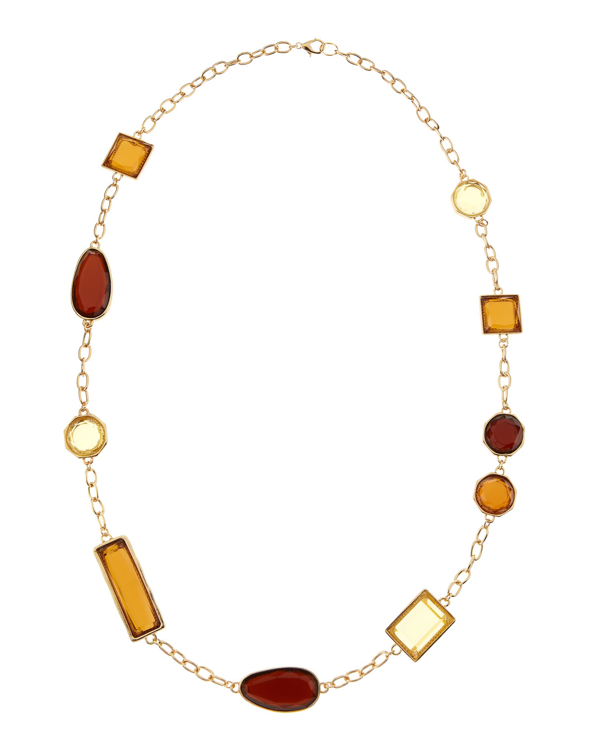 fragments geometric station necklace in metallic lyst