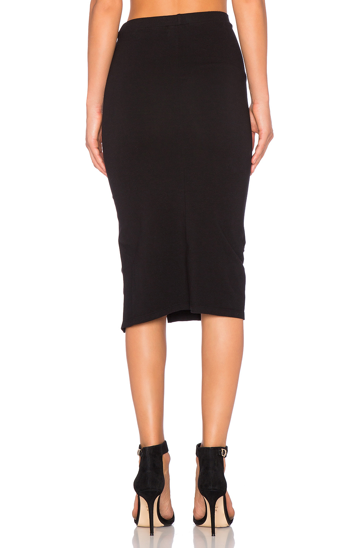 monrow zip up maxi skirt in black lyst