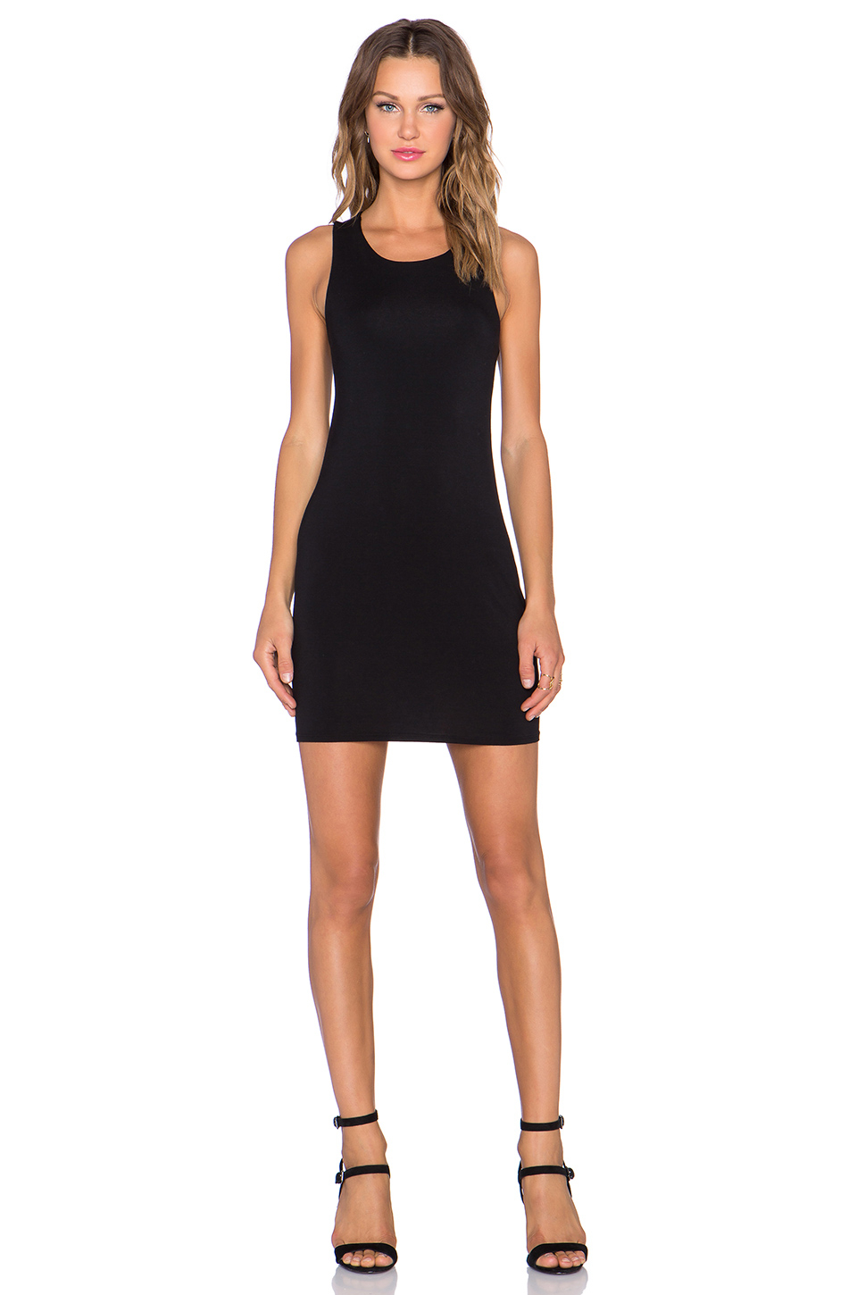 Krisa Drape Back Tank Dress In Black Lyst