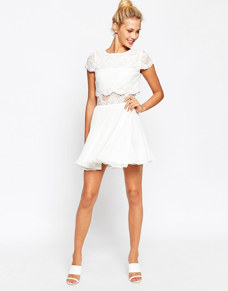 3d93b4cd1fb7 ASOS Lace Crop Top Mini Skater Dress in Natural - Lyst