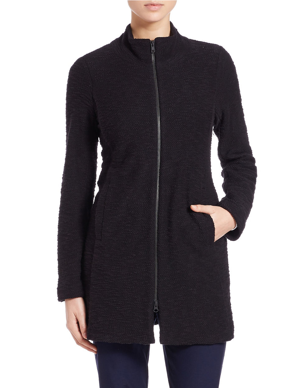 Eileen fisher Long Zip Up Sweater in Black | Lyst