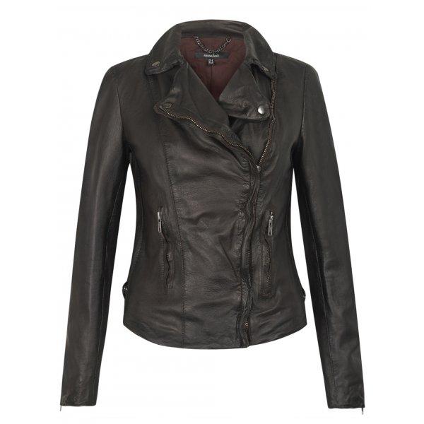 Muubaa women's monteria dark chocolate brown leather biker jacket