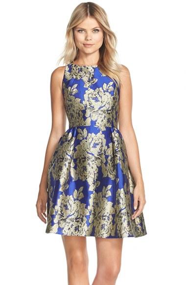 Lyst Adrianna Papell Metallic Jacquard Fit Amp Flare Dress
