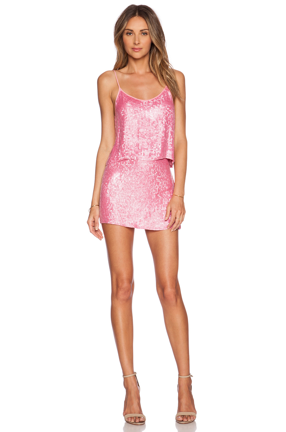 Mlv Justin Sequined Mini Skirt in Pink | Lyst