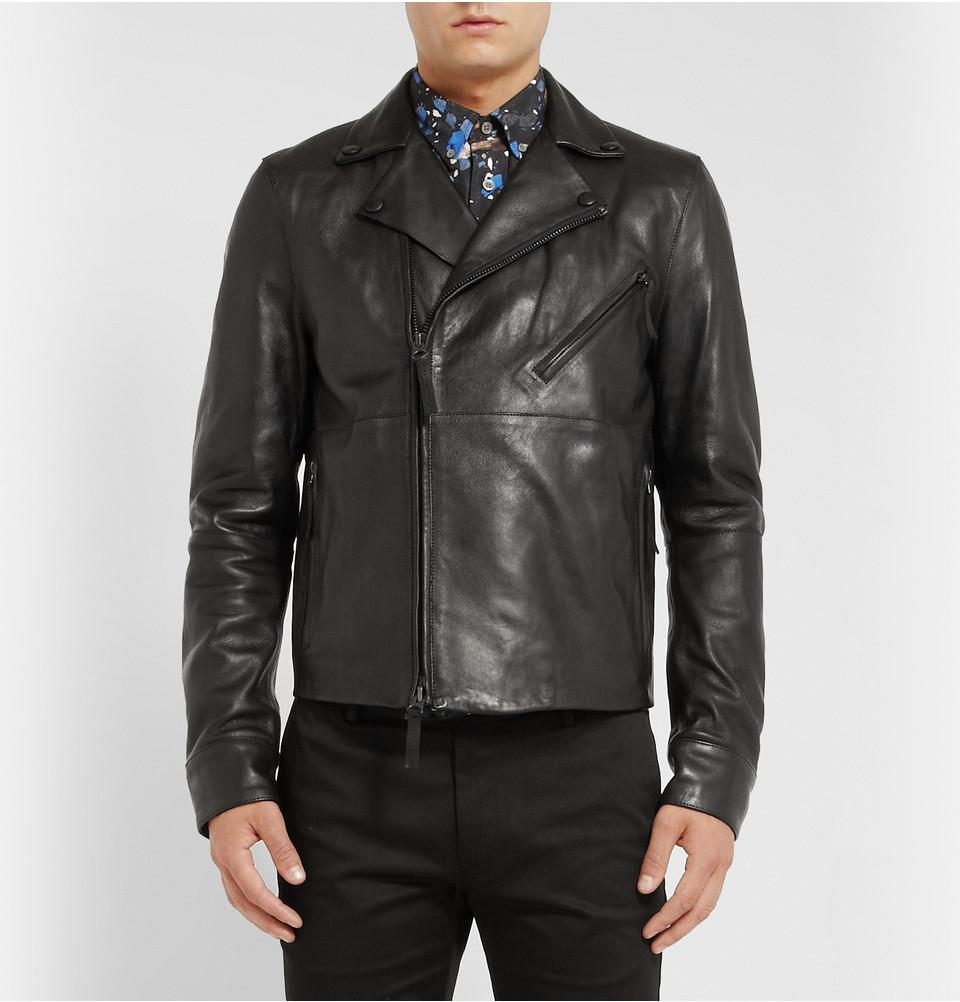 Acne studios Oscar Leather Biker Jacket in Black for Men | Lyst