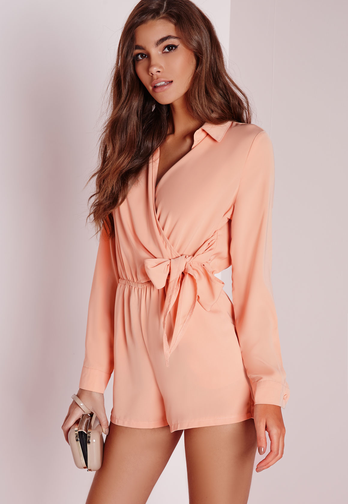 0c8cb252af Lyst - Missguided Wrap Front Shirt Romper Nude in Natural