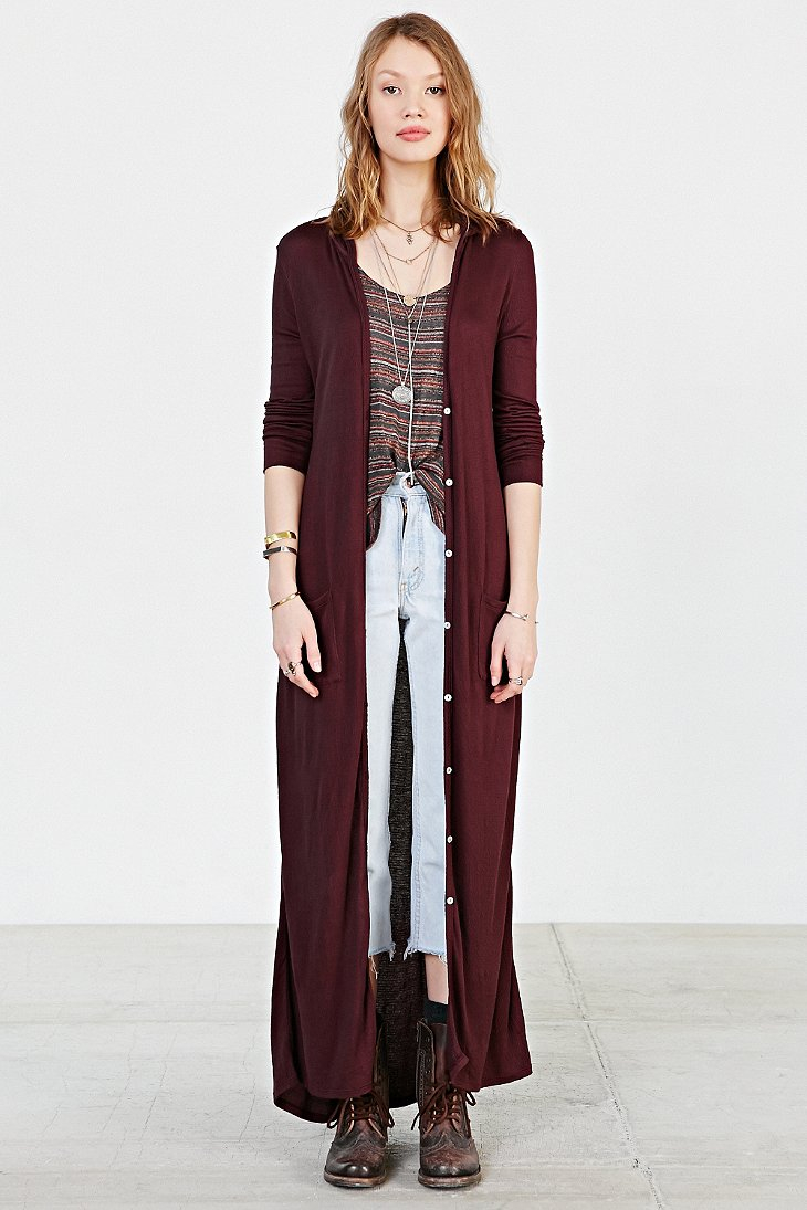 Ecote Easy Hooded Maxi Cardigan in Purple | Lyst