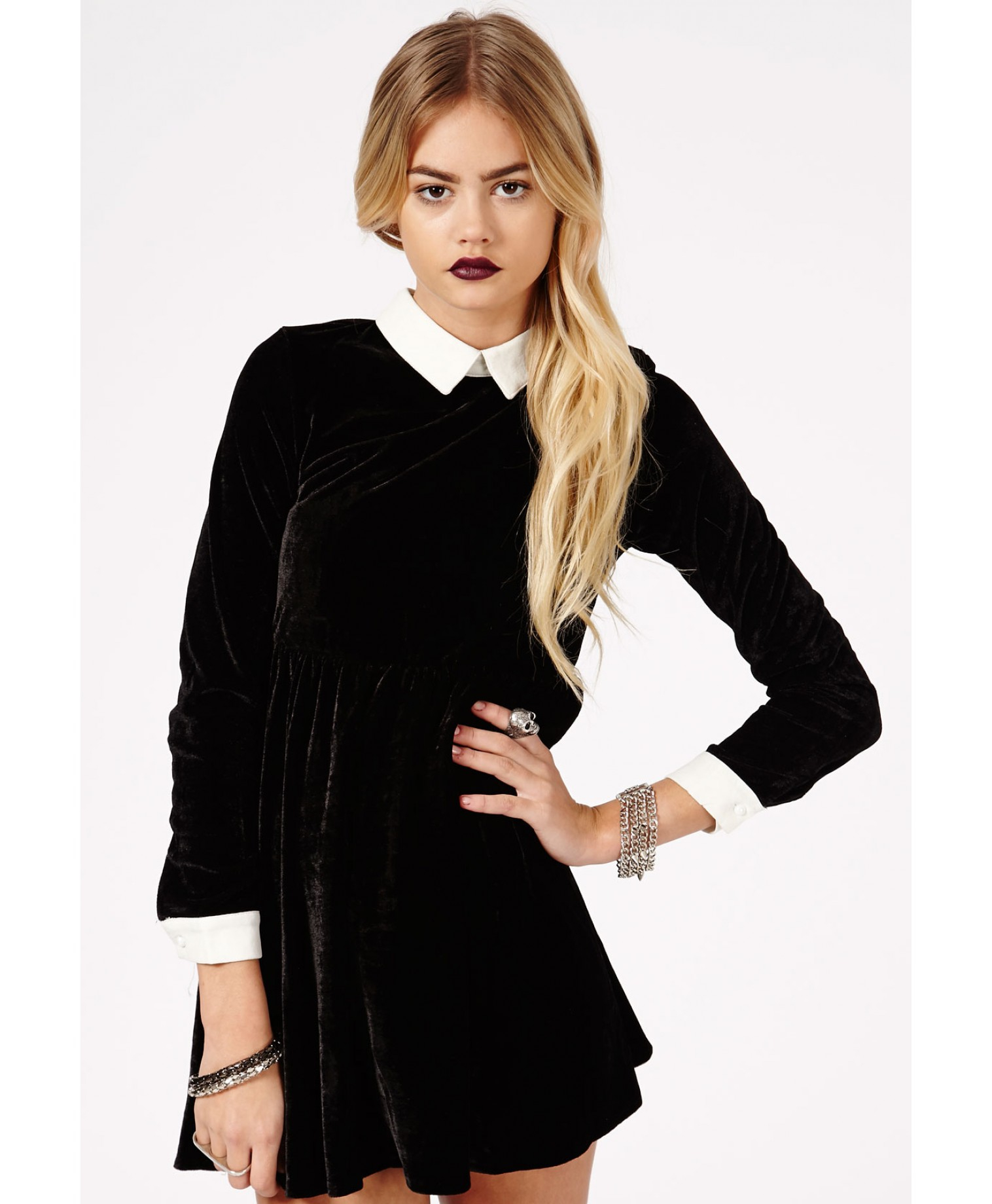 Missguided Cassida Velvet Contrast Collar and Cuffs Skater Dress in ... 8f5d83fdf