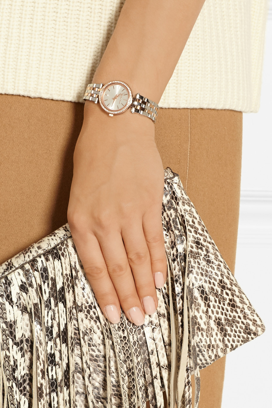 873303590eaa Lyst - Michael Kors Darci Stainless Steel and Rose Gold-tone Watch ...