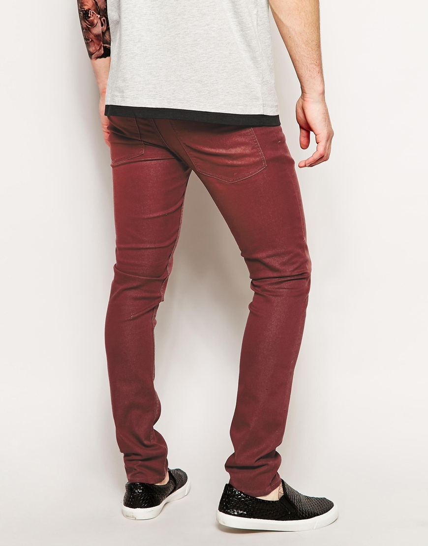 Cheap monday Tight Skinny Jeans in Red for Men | Lyst