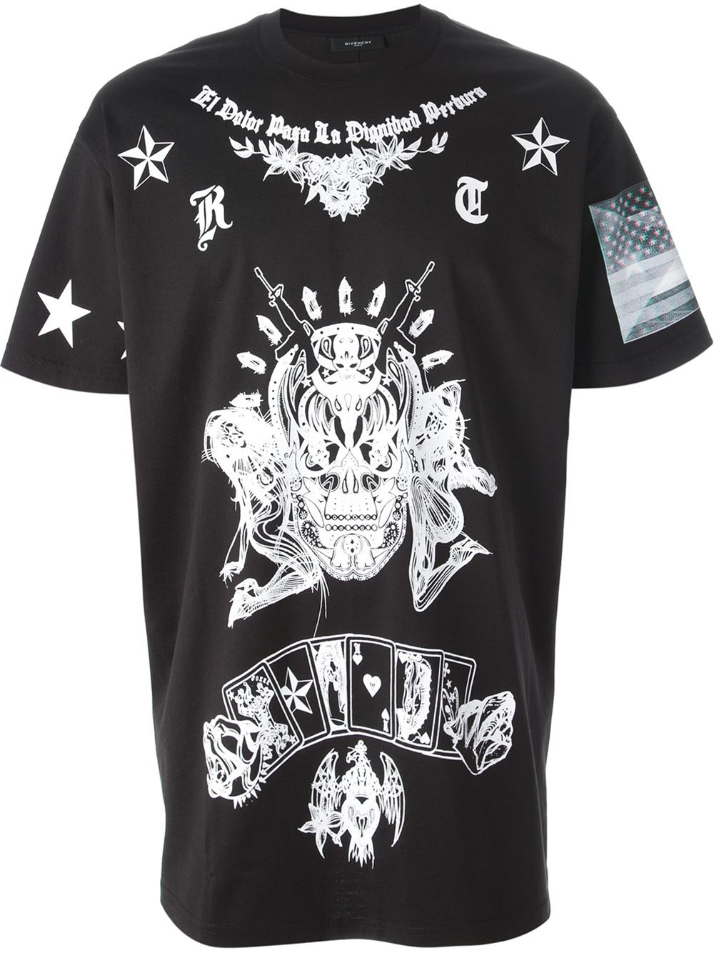Lyst givenchy skull print t shirt in black for men for Givenchy t shirt man