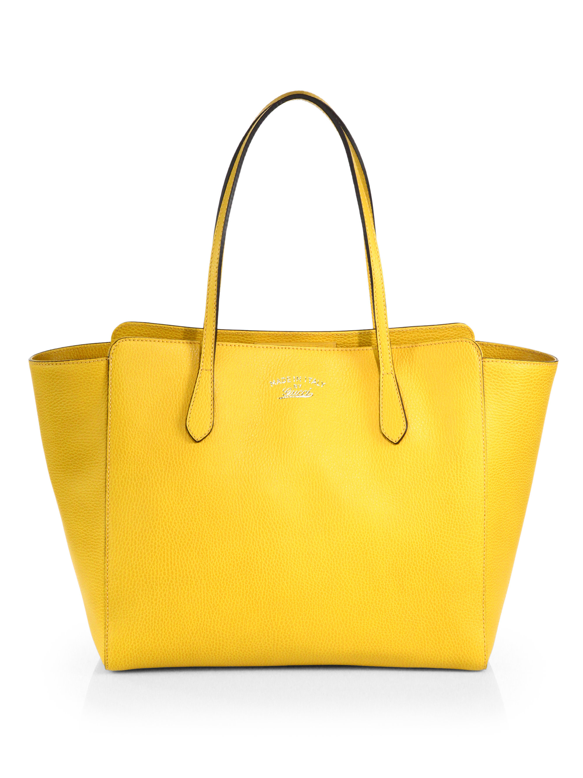 Lyst - Gucci Swing Large Leather Tote in Yellow