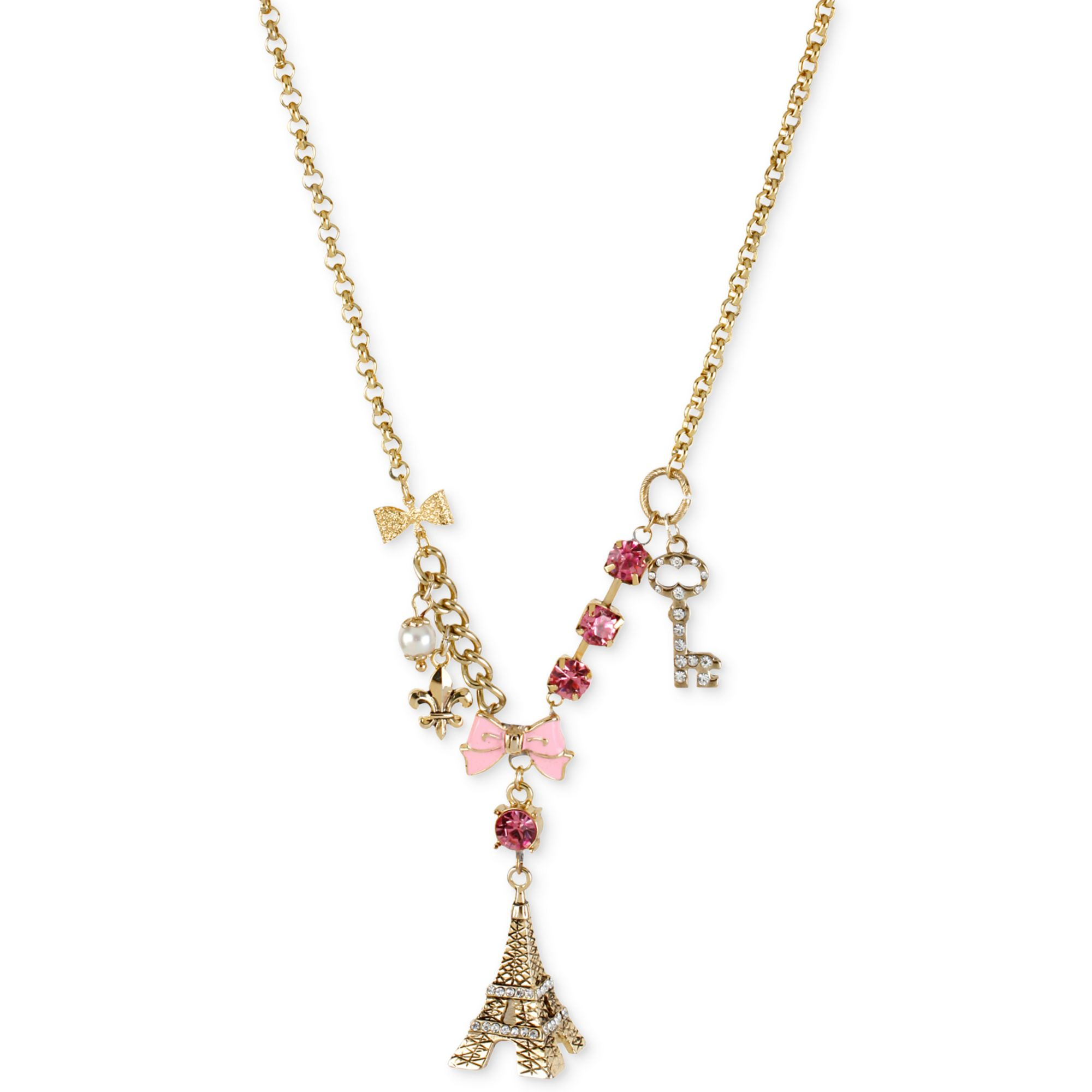 Betsey Johnson Antique Goldtone Eiffel Tower Multicharm