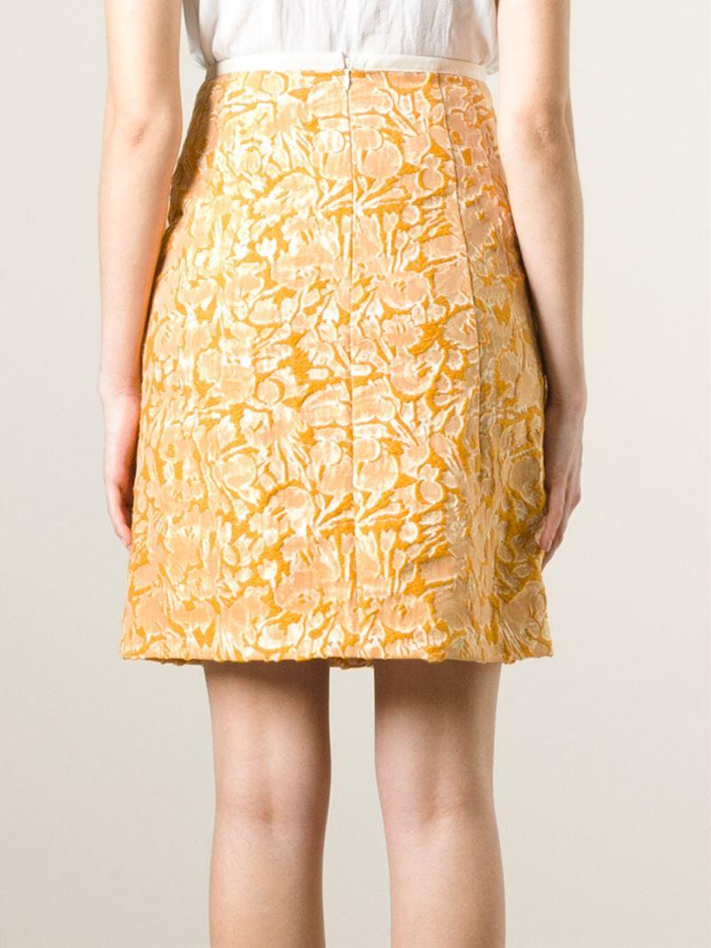 odeeh high waist jacquard skirt in yellow lyst