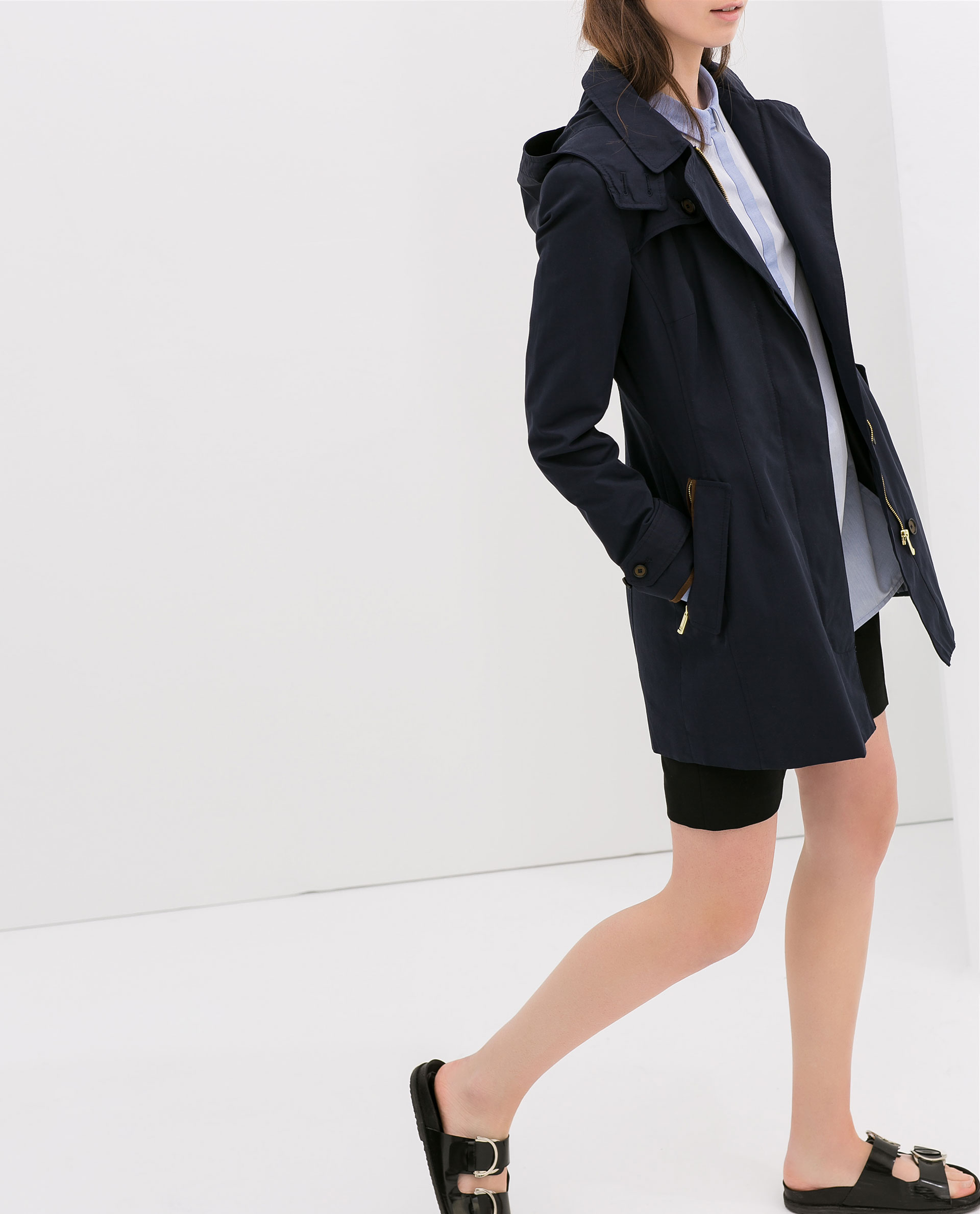Zara Short Hooded Trench Coat in Blue | Lyst