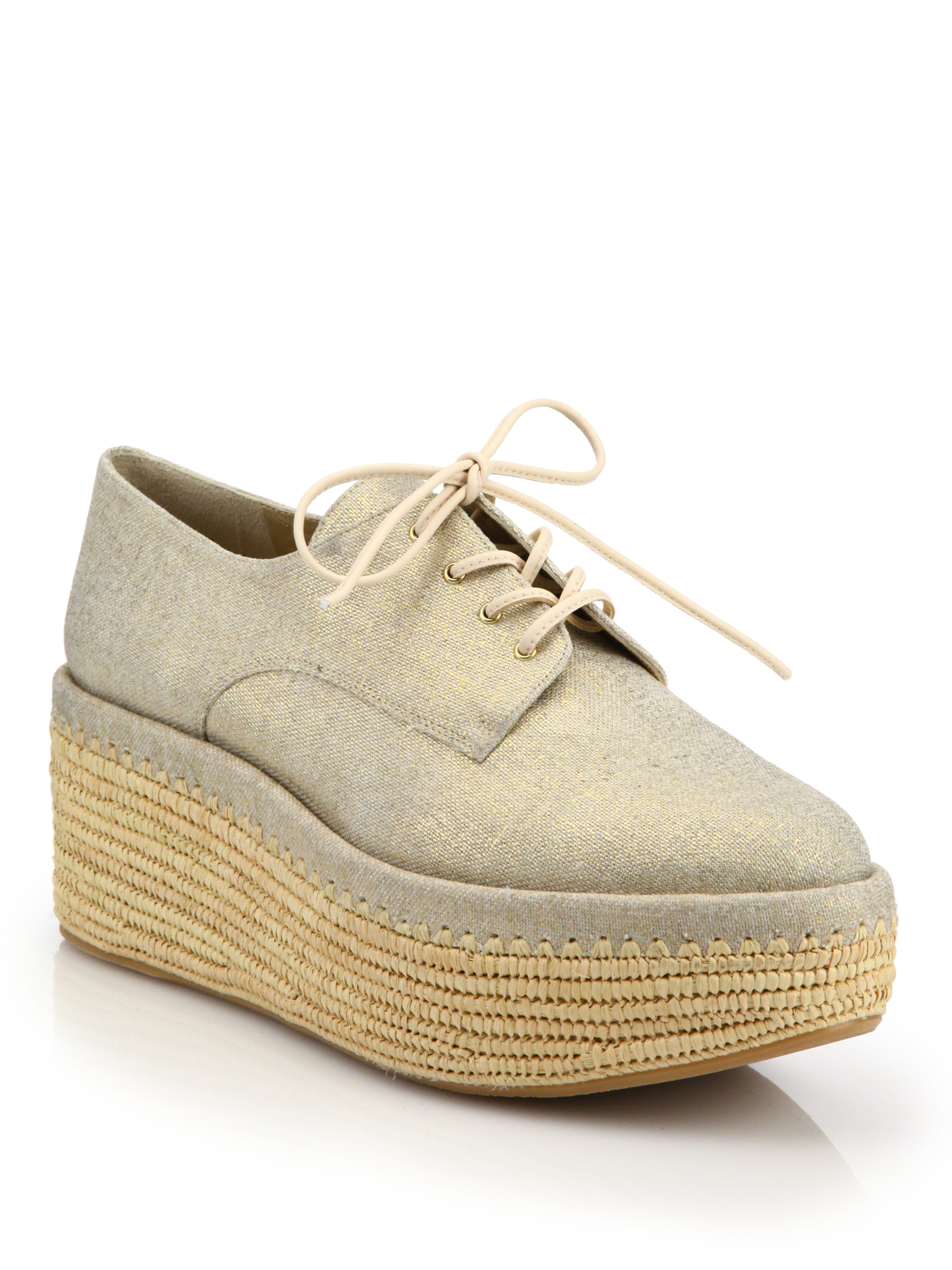 819190bc13c Lyst - Stuart Weitzman Kent Raffia Denim Platform Creeper Shoes in ...